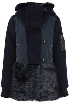 Ashley B. Faux Fur And Shell-Paneled Wool-Blend Down Hooded Jacket