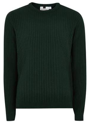 Topman Mens Deep Green Ribbed Sweater