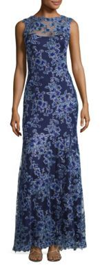 Tadashi Shoji Floral Lace Sleeveless Gown $519 thestylecure.com
