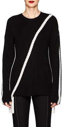 Derek Lam 10 Crosby Women's Braid-Detailed Rib-Knit Cotton Sweater