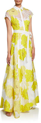 Lela Rose Belted Floral Illusion Gown