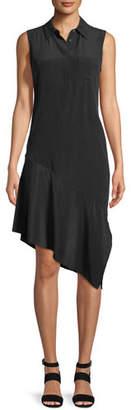 Equipment Tira Sleeveless A-Line Silk Dress with Asymmetric Hem