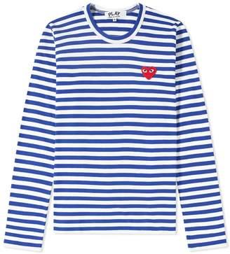 Comme des Garcons Women's Long Sleeve Heart Logo Stripe Tee
