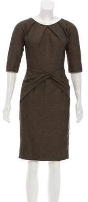 Lela Rose Gathered Short Sleeve Dress Brown Gathered Short Sleeve Dress