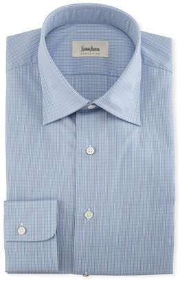 Neiman Marcus Small-Check Dress Shirt