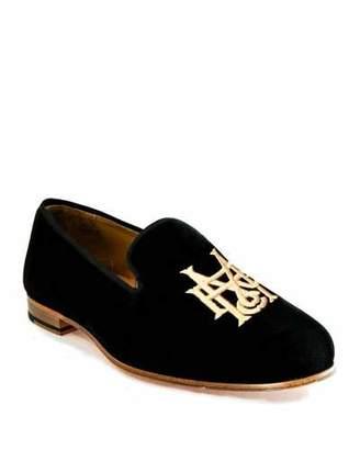 Romero + McPaul Men's Embroidered Velvet Loafers