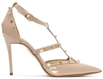 Daniel Tiff Beige Patent Studded Court Shoe