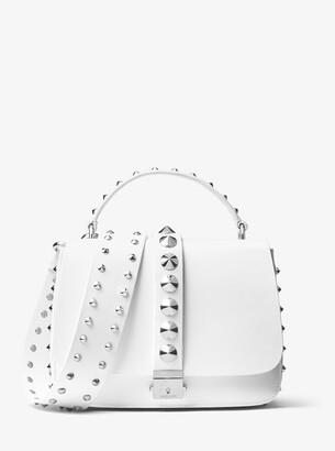 Michael Kors Mia Studded Calf Leather Shoulder Satchel