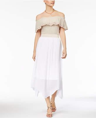 Thalia Sodi Off-The-Shoulder Tie-Hem Gauze Top, Created for Macy's