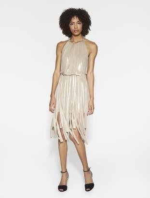 Halston Metallic Jersey Strips Dress