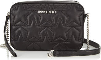 Jimmy Choo HAYA Small Day Bag in Black and Silver Metallic Nappa with Star Matelasse