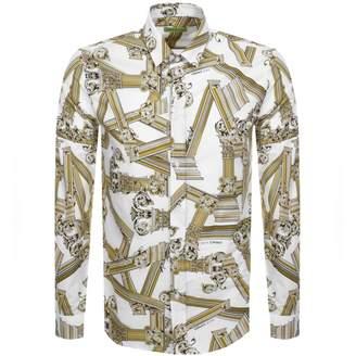 Versace Long Sleeved Printed Shirt White