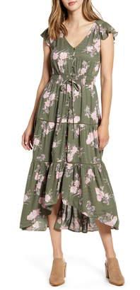 Lucky Brand Felice Tiered Ruffle Midi Dress
