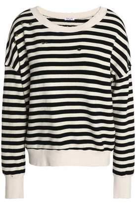 Splendid Studded Distressed Striped Cotton-Blend Sweater