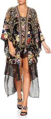 Camilla Printed Silk Kimono with Long Underlay