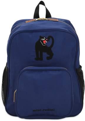 afb5414a210 at Luisaviaroma Mini Rodini Panther Print Nylon Canvas Backpack