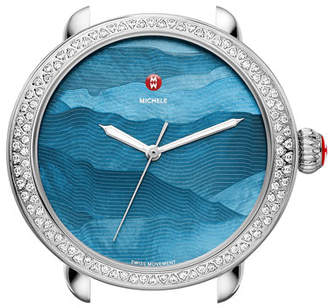 Michele Serein 18mm Watch Head with Diamonds in Silver/Teal