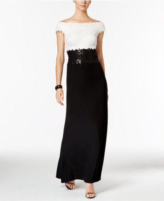 Tadashi Shoji Lace Off-The-Shoulder Colorblocked Gown $398 thestylecure.com
