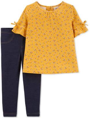 Carter's Carter Toddler Girls 2-Pc. Floral-Print Top & Denim Leggings Set