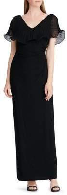 Lauren Ralph Lauren Georgette Flutter-Sleeve Gown