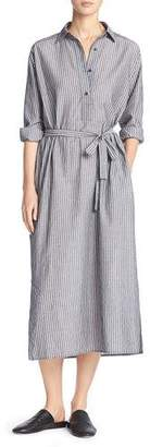 Vince Double-Stripe Midi Shirtdress, Black/Off-White $345 thestylecure.com
