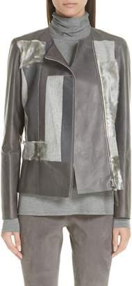 Lafayette 148 New York Toluca Leather & Genuine Calf Hair Jacket