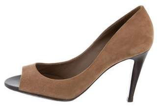 Bottega Veneta Suede Peep-Toe Pumps
