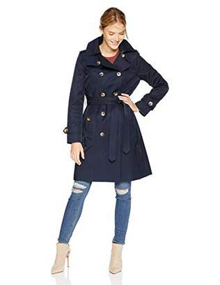 London Fog Women's Double Breasted Mid LengthButton Trench Coat with Hood