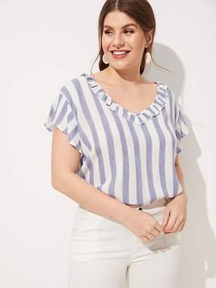Shein Plus Striped V-neck Blouse