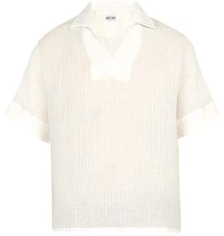 Hecho - Open Collar Ribbed Silk And Linen Blend Shirt - Mens - Ivory