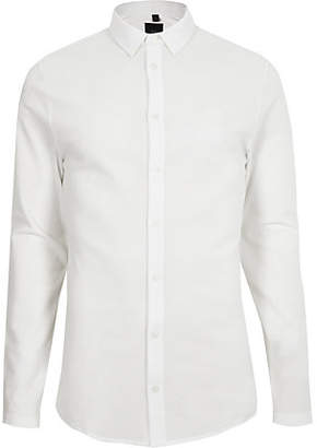 River Island White textured button-down long sleeve shirt