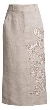 Lafayette 148 New York Milani Floral-Detailed Linen Skirt
