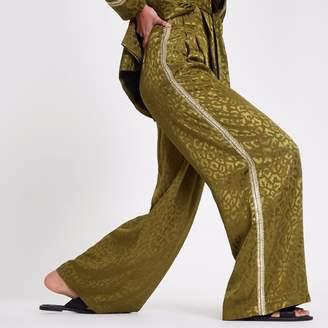 River Island Womens RI Studio Khaki sequin side stripe trousers