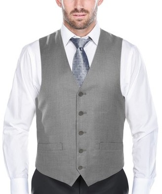 Verno Big Men's Light Grey Five Button Classic Fit Vest