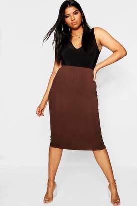 boohoo Plus Basic Bodycon Midi Skirt