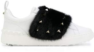 Valentino fur and stud sneakers