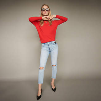 Maje Cropped faded denim jeans