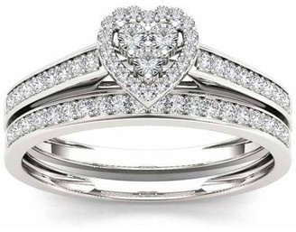 Imperial Diamond Imperial 1/2 Carat T.W. Diamond Heart-Frame 10kt White Gold Engagement Ring Set