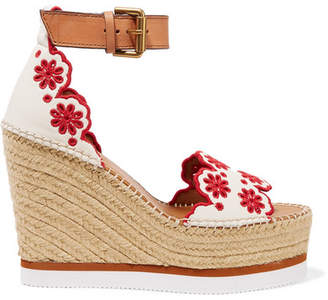 8ac71bd44d1 See by Chloe Embroidered Laser-cut Suede And Leather Espadrille Wedge  Sandals - White