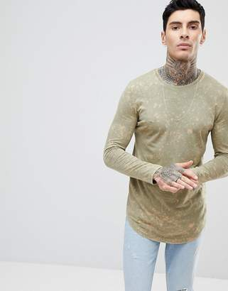 Asos Design Super Longline Long Sleeve T-Shirt In Subtle Acid Wash