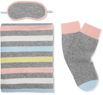 Chinti and Parker Striped Cashmere Travel Set - Gray