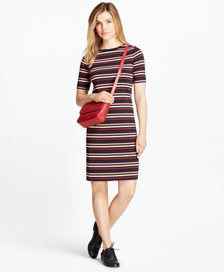 Brooks Brothers Striped Cotton Interlock Jersey T-Shirt Dress
