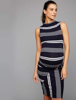 A Pea in the Pod Striped Side Ruched Maternity Dress