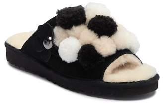 UGG Clio Genuine Sheepskin Pompom Slide Sandal