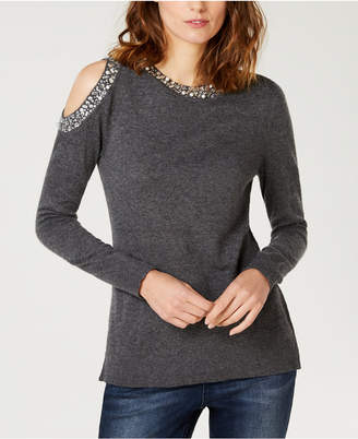 INC International Concepts I.n.c. Embellished Cold-Shoulder Sweater