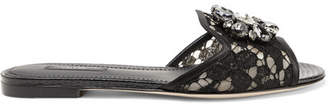 Dolce & Gabbana Embellished Corded Lace And Lizard-effect Leather Slides - Black