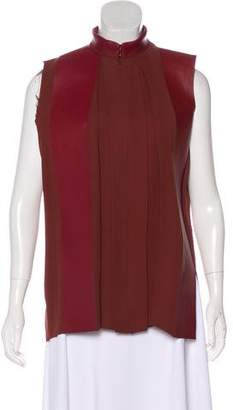 Celine Leather-Trimmed Sleeveless Top