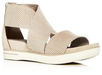 Eileen Fisher Womens' Sport Perforated Nubuck Leather Platform Sandals