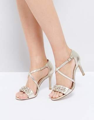 Dune London Gold Embellished Heeled Sandals