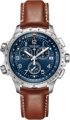 Hamilton Khaki Aviation X-Wind Chronograph GMT Leather Strap Watch, 46mm